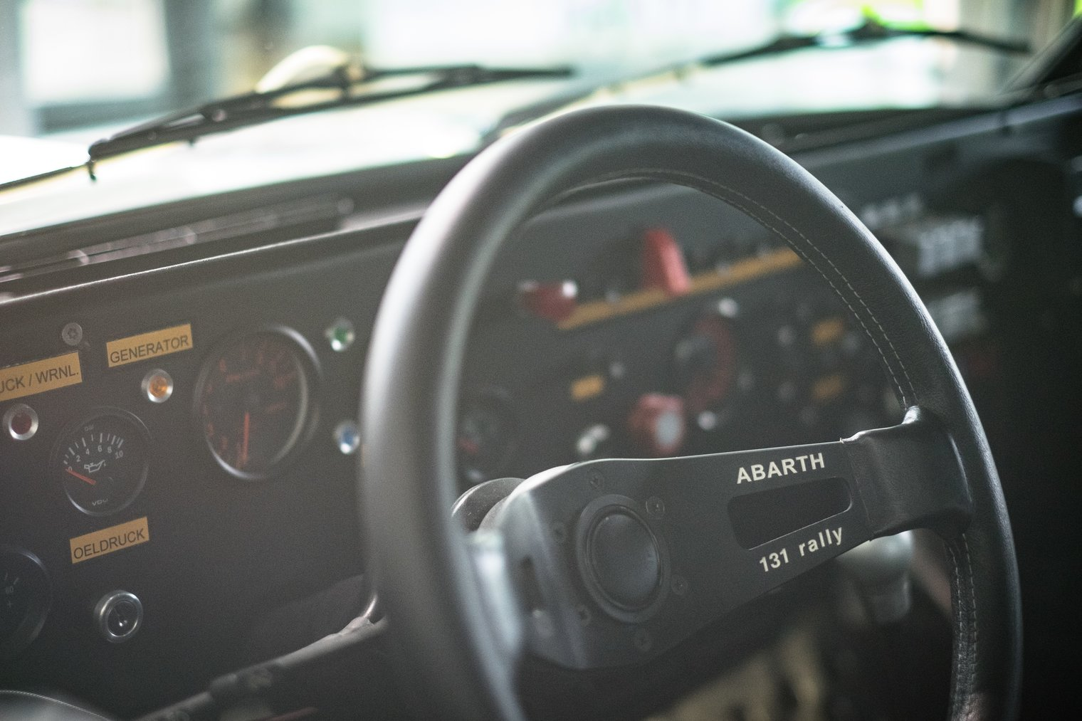 Abarth 131 rally interior steering wheel