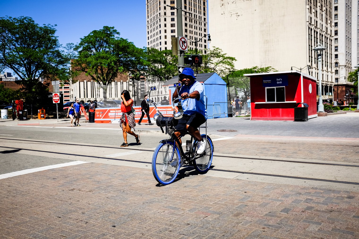 Downtown Detroit Cyclist
